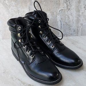 Justin black leather kiltie lace-up combat boots 8